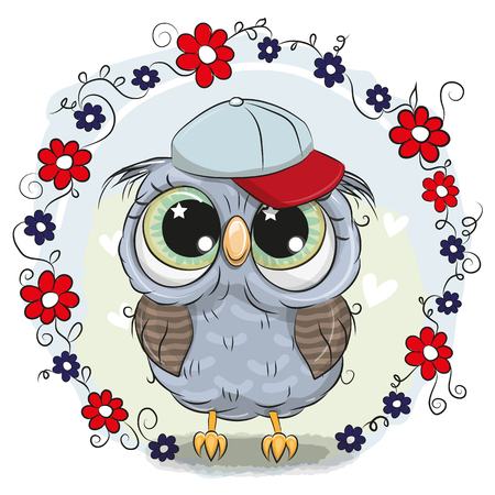 Ilustración de Greeting card with Cute Cartoon Owl with flowers - Imagen libre de derechos