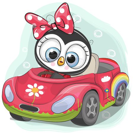 Illustration pour Cute Cartoon Penguin Girl goes on a pink car - image libre de droit