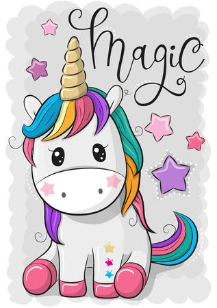 Ilustración de Cute Cartoon Unicorn isolated on a gray background Vector illustration. - Imagen libre de derechos