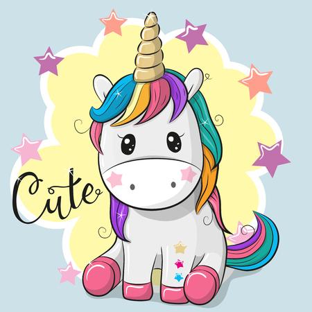 Ilustración de Cute Cartoon Unicorn isolated on a blue background - Imagen libre de derechos