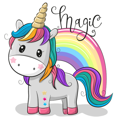 Illustration pour Cute Cartoon Unicorn and a rainbow isolated on a white background - image libre de droit