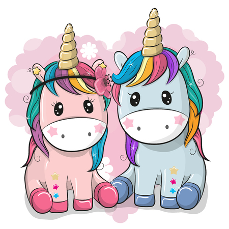 Photo pour Two Cute Cartoon Unicorns on a heart background - image libre de droit