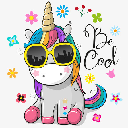 Ilustración de Cute Cartoon Cute unicorn with sun glasses - Imagen libre de derechos