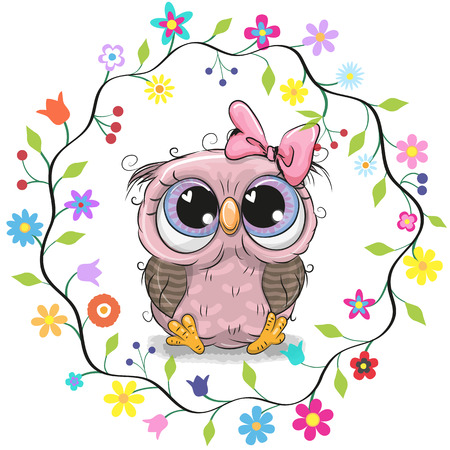 Illustration pour Cute Cartoon Owl in a flowers frame - image libre de droit
