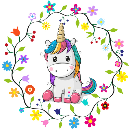 Illustration pour Cute cartoon unicorn in a flowers frame on a white background. - image libre de droit