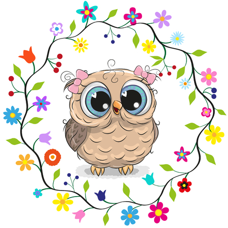 Illustration pour Cute cartoon owl girl in a flowers frame. - image libre de droit