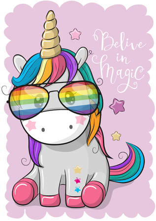 Ilustración de Cute Cartoon Cool unicorn with sun glasses Vector illustration. - Imagen libre de derechos