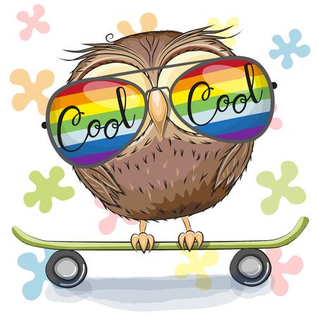Ilustración de Cool Cartoon Cute Owl with sun glasses on a skateboard. Vector illustration. - Imagen libre de derechos