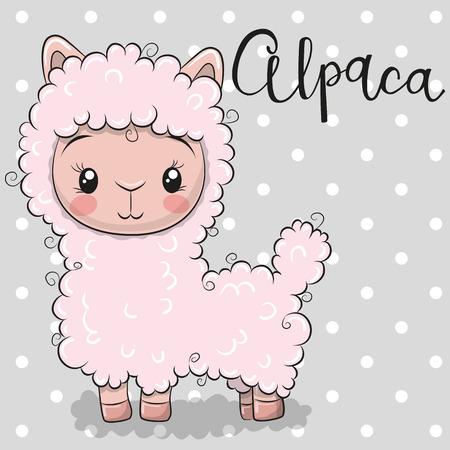 Ilustración de Cute Cartoon pink alpaca on a gray background - Imagen libre de derechos