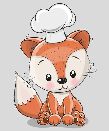 Ilustración de Cute Caroon Fox in a cook hat isolated on a gray background - Imagen libre de derechos