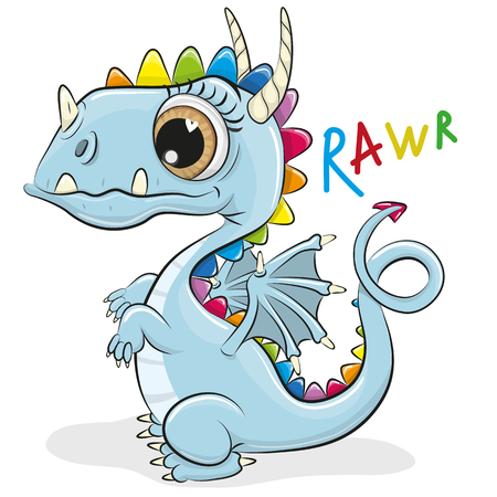 Ilustración de Cute Cartoon Dragon isolated on a white background - Imagen libre de derechos