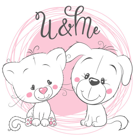 Illustrazione per Cute Cartoon Cat and Dog on a pink background - Immagini Royalty Free