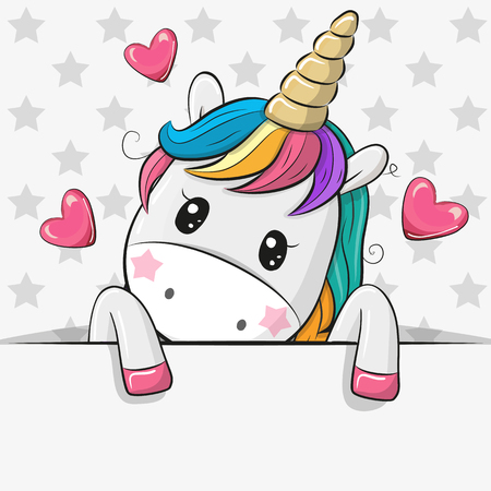 Illustrazione per Cute Cartoon Unicorn is holding a placard on a stars background - Immagini Royalty Free