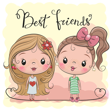Illustrazione per Two friends Cute cartoon girls on a yellow background - Immagini Royalty Free