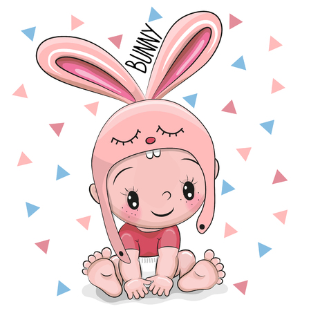 Illustration pour Cute Cartoon Baby boy in a Bunny hat on a white background - image libre de droit