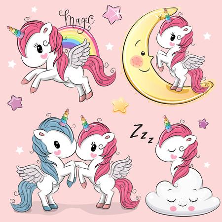 Ilustración de Set of Cute Cartoon Unicorns isolated on a pink background - Imagen libre de derechos