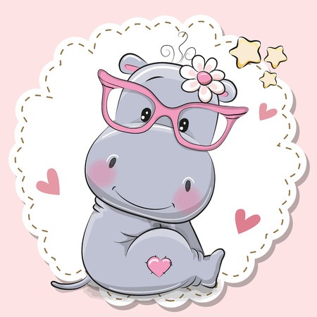 Illustration pour Cute cartoon Hippo girl in pink eyeglasses - image libre de droit