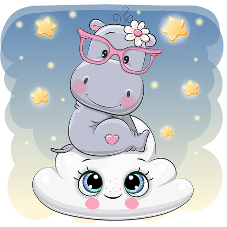 Illustration for Cute Cartoon Hippo is sitting a on the Cloud - Royalty Free Image