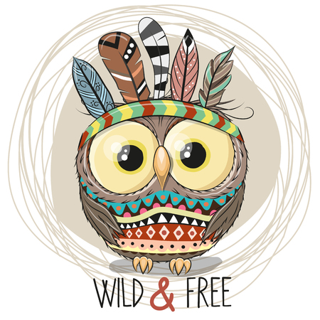 Illustration pour Cute Cartoon tribal Owl with feathers on a white background - image libre de droit
