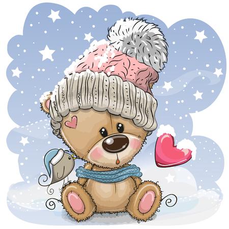 Ilustración de Cute Cartoon Teddy bear in a knitted cap sits on a snow - Imagen libre de derechos