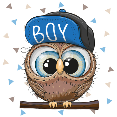 Illustration pour Cute Cartoon Owl in a cap on a white background - image libre de droit
