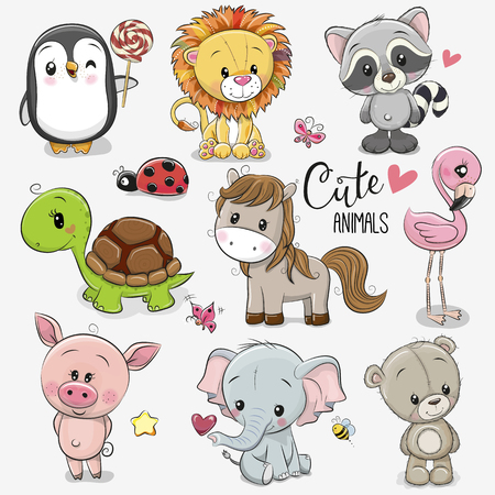 Illustrazione per Set of Cute Cartoon Animals on a white background - Immagini Royalty Free