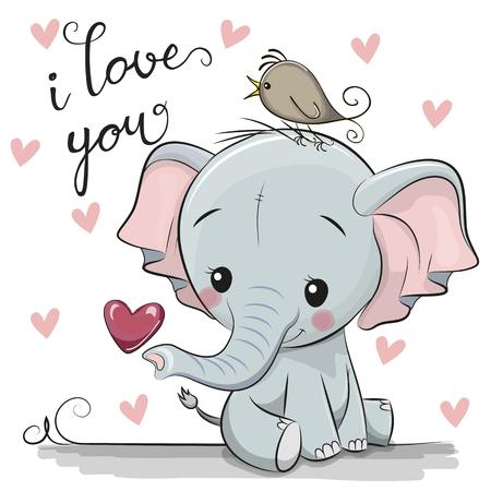 Illustration pour Cute Cartoon Elephant with Heart on a white background - image libre de droit