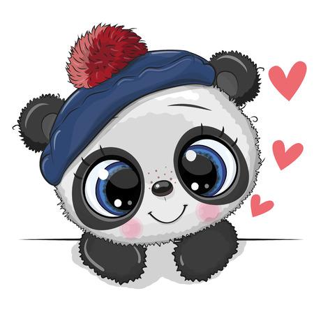 Illustration pour Cute Drawing Baby Panda in a sailor hat on a white background - image libre de droit