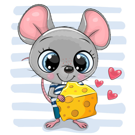 Illustrazione per Cute Cartoon Mouse with big eyes and cheese - Immagini Royalty Free