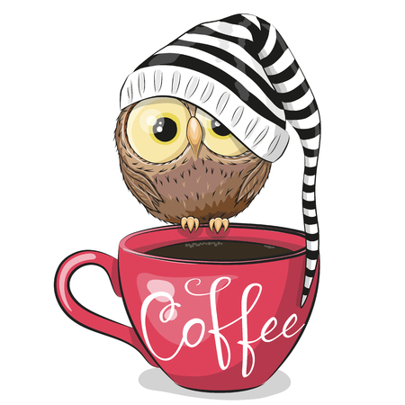 Illustration pour Cute Cartoon owl is sitting on a Cup of coffee - image libre de droit