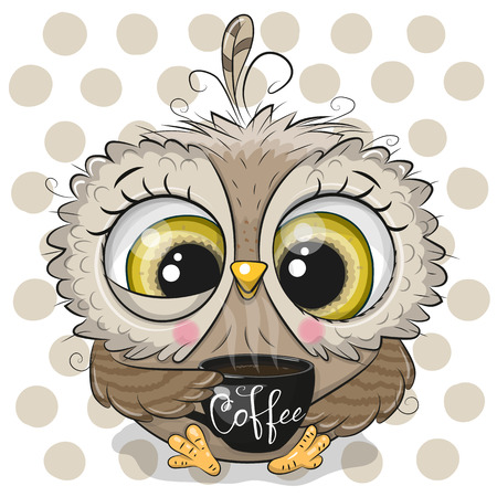 Ilustración de Cute Cartoon owl with a black Cup of coffee - Imagen libre de derechos
