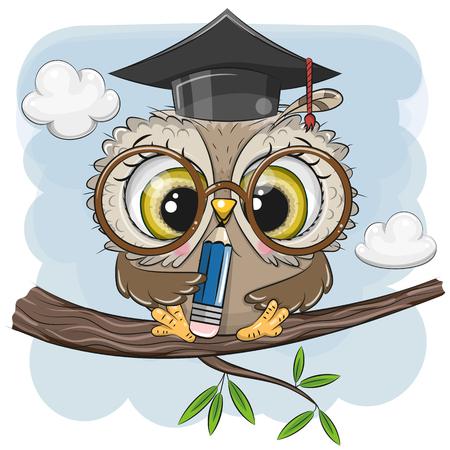 Ilustración de Cute Clever owl with pencil and in graduation cap sitting on a branch - Imagen libre de derechos