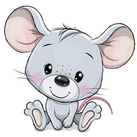 Ilustración de Cute Cartoon Mouse isolated on a white background - Imagen libre de derechos