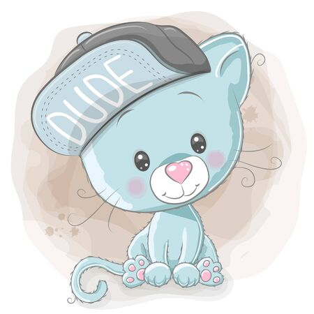 Illustrazione per Cute Cartoon Kitten with a blue cap on a beige background - Immagini Royalty Free
