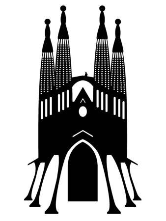 Ilustración de Vector illustration of Sagrada Familia vector on a white background - Imagen libre de derechos