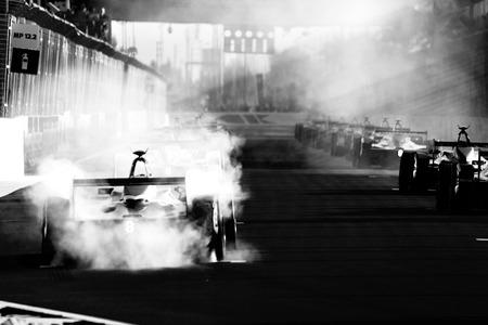 Foto de Morocco Formula E racing car. The FIA Formula E Championship is a class of auto racing, using only fully electric-powered cars - Imagen libre de derechos