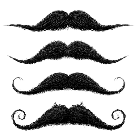 Illustrazione per Old fashion upper lip long wax groomed and trimmed fake moustaches set abstract vector illustration - Immagini Royalty Free