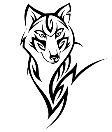 Illustration for Wolf tribal tattoo black isolated on white - Royalty Free Image