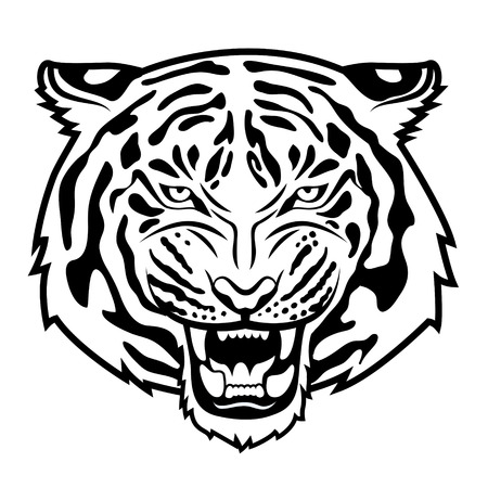 Ilustración de Roaring tiger s head isolated on white   - Imagen libre de derechos