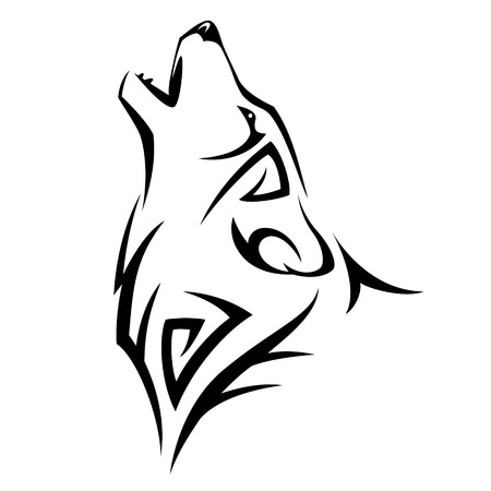 Illustration pour Howl wolf tattoo Tribal Design illustration - image libre de droit