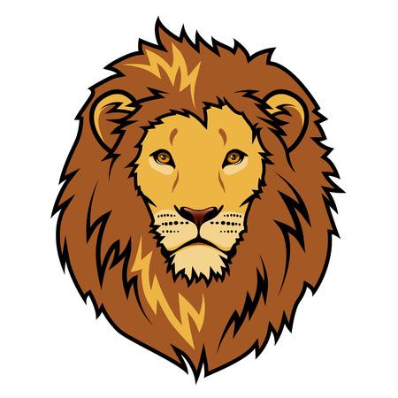 Illustration pour Emblem stylized lion head color illustration - image libre de droit