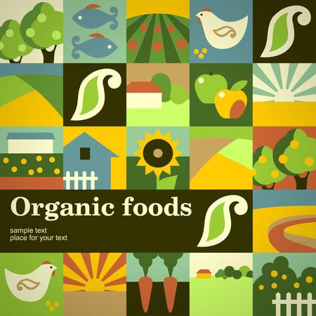 Ilustración de Mosaic concept background for your design. Organic foods - Imagen libre de derechos