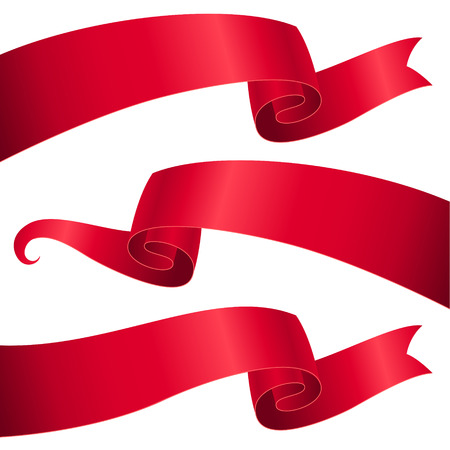 Illustration pour Set of red ribbons for design and decoration - image libre de droit