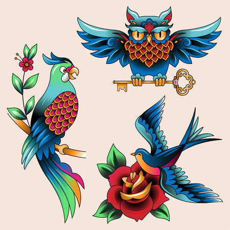 Illustration for Set of Traditional birds tattoo owl, parrot and swallow  - Royalty Free Image