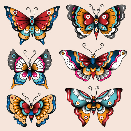 Illustration pour Set of old school tattoo art butterflies for design and decoration  - image libre de droit