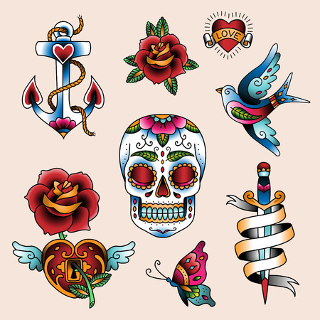 Illustration for Set of traditional color tattoo elements  - Royalty Free Image