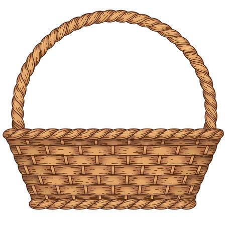 Illustration pour Empty woven basket isolated on white background - image libre de droit