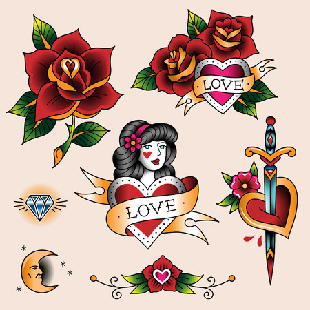 Illustration pour Set of  romantic tattoos in traditional vintage style - image libre de droit