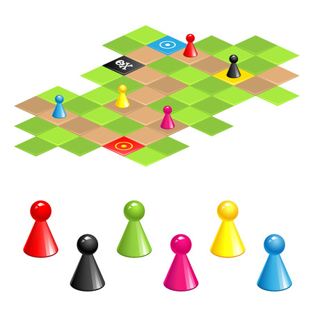 Illustration pour Set of color gaming pieces and  gaming field isolated on white background - image libre de droit