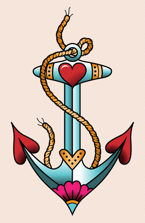 Illustration pour Sea anchor. Color tattoo in traditional old school style - image libre de droit